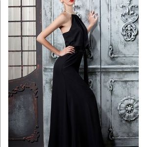 NWOT Black gown with halter pearl neck closure